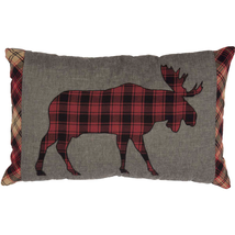 "Cumberland ""MOOSE"" Toss Pillow  for Cabin or Lodge Decor Black/Red Plaid... - £20.44 GBP"