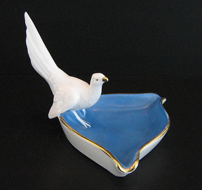 West Germany Blue & White Dove Pin Dish Ashtray