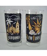 2 TWA Airlines New York & California Glasses - $44.99