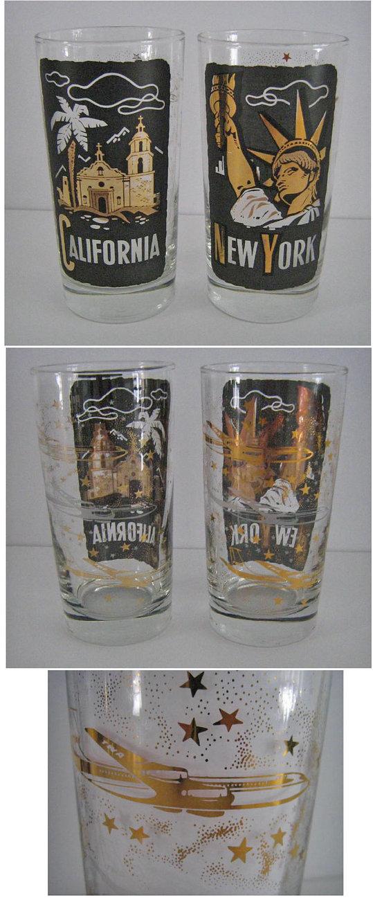 2 TWA Airlines New York & California Glasses