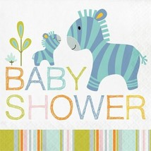 Happi Jungle 16 Ct Luncheon Napkins Baby Shower Zebra - $5.29