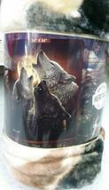 Wolf Trinity Howling American Heritage Woodland Plush Raschel Throw blanket - $23.75