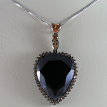 .925 SILVER RHODIUM NECKLACE WITH BURNISHED HEART OF BROWN AND YELLOW CRYSTALS image 3