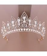 Luxury Water Drop Shape Crystal Women Crowns Headpiece Princess Pearl Ti... - $25.26