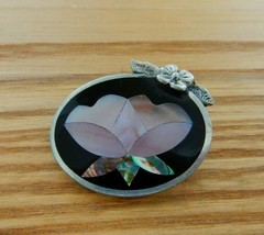 Lovely 1991 Alia Mexico abalone silver tone flower brooch - $20.00