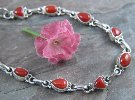 Coral sterling silver