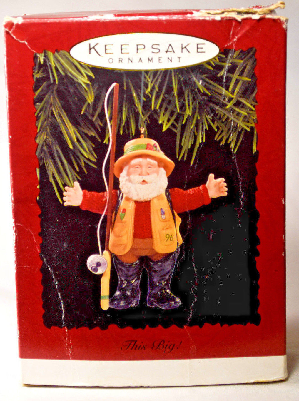 Primary image for Hallmark This Big!  Fishing Santa  1996 Holiday Ornament