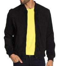 John Varvatos Star USA Men's Noel Zip Front Goat Suede Bomber Jacket Black - $279.12