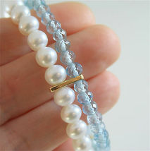 18K YELLOW GOLD BRACELET WITH 2 STRANDS PEARLS AND AQUAMARINE 7 IN MADE IN ITALY image 6