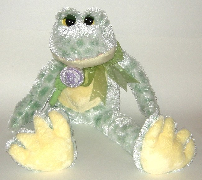 50% off! Frog Chenille Floppy Plush Green Yellow Purple Rose