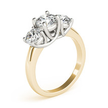 2.50CT Forever One DEF Moissanite 3-Stone Trellis Ring Two Tone Gold  - $1,221.76+