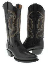 Womens Black Classic Style Western Cowboy Boots Casual Plain Leather - $129.99