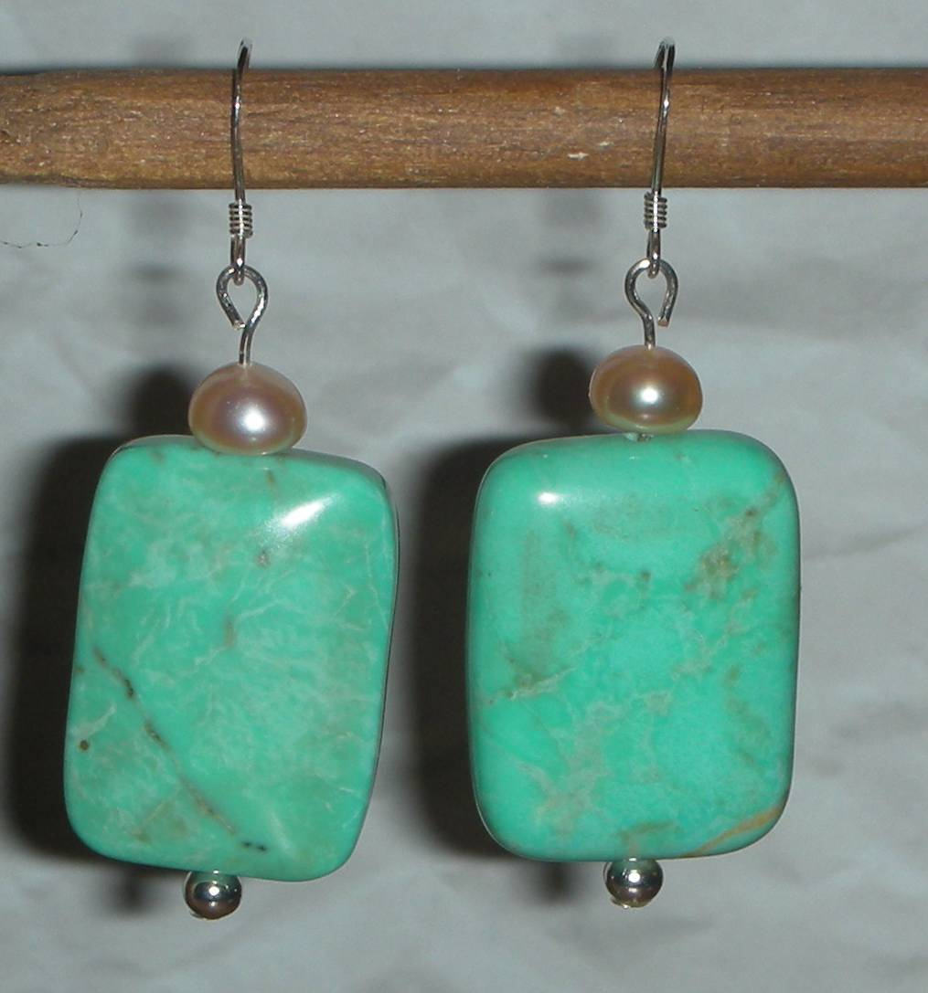 BEAUTIFUL TURQUOISE AND FW PEARLS Beads EARRINGS