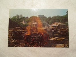 Lynchburg Tennessee Jack Daniels making Charcoal Postcard  - $4.99
