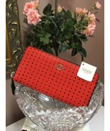 Coach F52777 Printed Cross Grain Leather Zip Around Polka Dots Red Long ... - $128.69