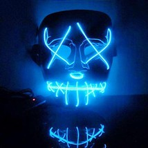 EL Wire Mask Light Up Neon Skull LED Mask For Halloween Party And Concer... - £5.92 GBP