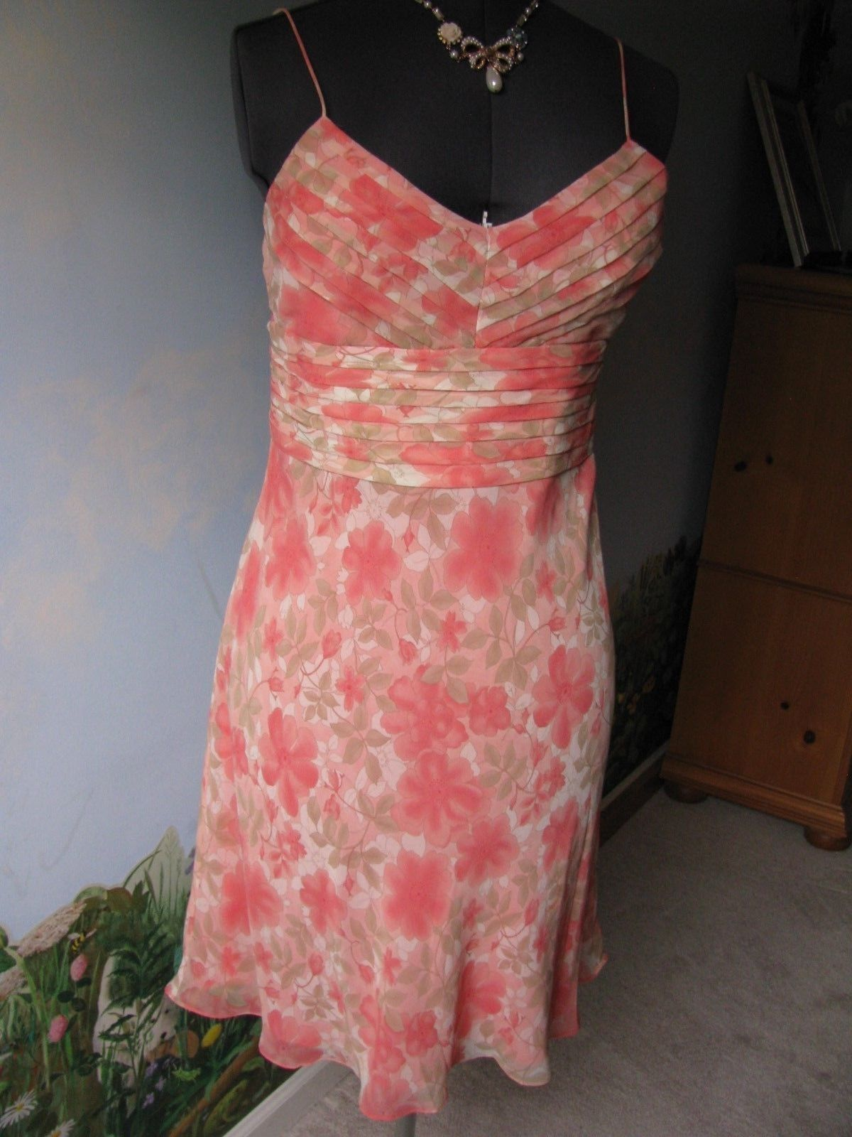Primary image for Ann Taylor Loft Women Pink Floral Cocktail Silk Spaghetti Strap Dress Size 8