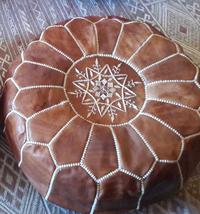 Genuine Tan leather Moroccan pouf ottoman