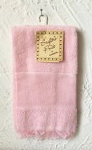 Crafter's Pride Cross Stitch Velour Guest Towel - Pink 14 Count Border - $9.49