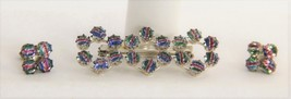 VINTAGE ESTATE Jewelry IRIS GLASS BROOCH & EARRING SET 835 SILVER MID CE... - $48.75