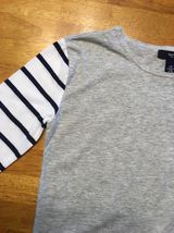 Gap Kids Girl's Gray, Blue & White Striped Pocket Shirt - Size: Medium image 5