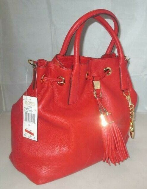 MICHAEL KORS CAMDEN LEATHER DRAWSTRING RED GOLD CROSSBODY LARGE SATCHEL BAG NWT image 2