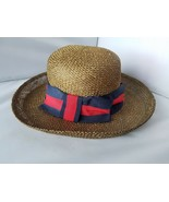 Patchington Women's Hat Gold Straw Striped Ribbon Bowler Panama Round Br... - $13.94