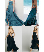 A-Line Tiered Hem Maxi Long Blue OR Black BOHO Backless Beach Dress - $34.99