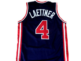 Christian Laettner #4 Team USA Basketball Jersey Navy Blue Any Size image 2