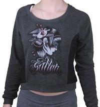Sullen Angels Women's Charcoal SA Blackout Tattoo Art Fleece Crop Sweater NWT