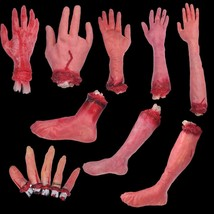 Scary Props Set Fake Cut Off Bloody Latex Arm Hand Foot Halloween Horror... - £70.50 GBP