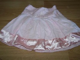 Girls Size XS 4-5 Cherokee Solid Light Pink Corduroy Lace Satin Skirt EUC - $14.00