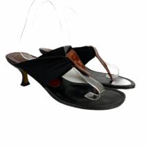 Donald J Pliner Heeled Sandals 8 Black Brown Leather Fabric Flip Flop Wo... - $48.22
