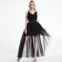 Black Slit Tulle OVERSKIRT Elastic Waist hilo Tulle Skirt Open Skirt Over Skirt image 2