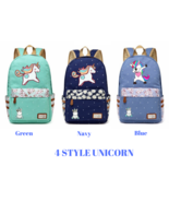 unicorn Dab cartoon Backpack For Women Girls Canvas bag Flowers - $41.95