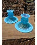 Vintage Fenton Blue Opalescent Hobnail Candle Holder Glass Pair - $75.00