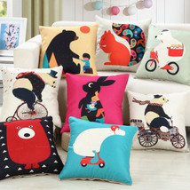 "18*18""Cute Bear Pillowcase Cartoon Rabbit Panda Cushion Cover Home Bedroom Decor - $3.72+"