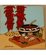 Kuhne Ceramic Tile Southwestern Design Signed 1984 - $21.99