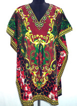 Short Digital Floral Kaftan, Bohemian Beach Top, Hippie Caftan Free Size Dress - $8.59