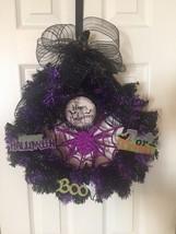 PURPLE AND BLACK Halloween Wreath boo trick or treat - $13.86