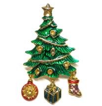 "Christopher Radko Brooch Pin Christmas Tree Enamel Gold Plated Signed 2.5"" - $20.00"
