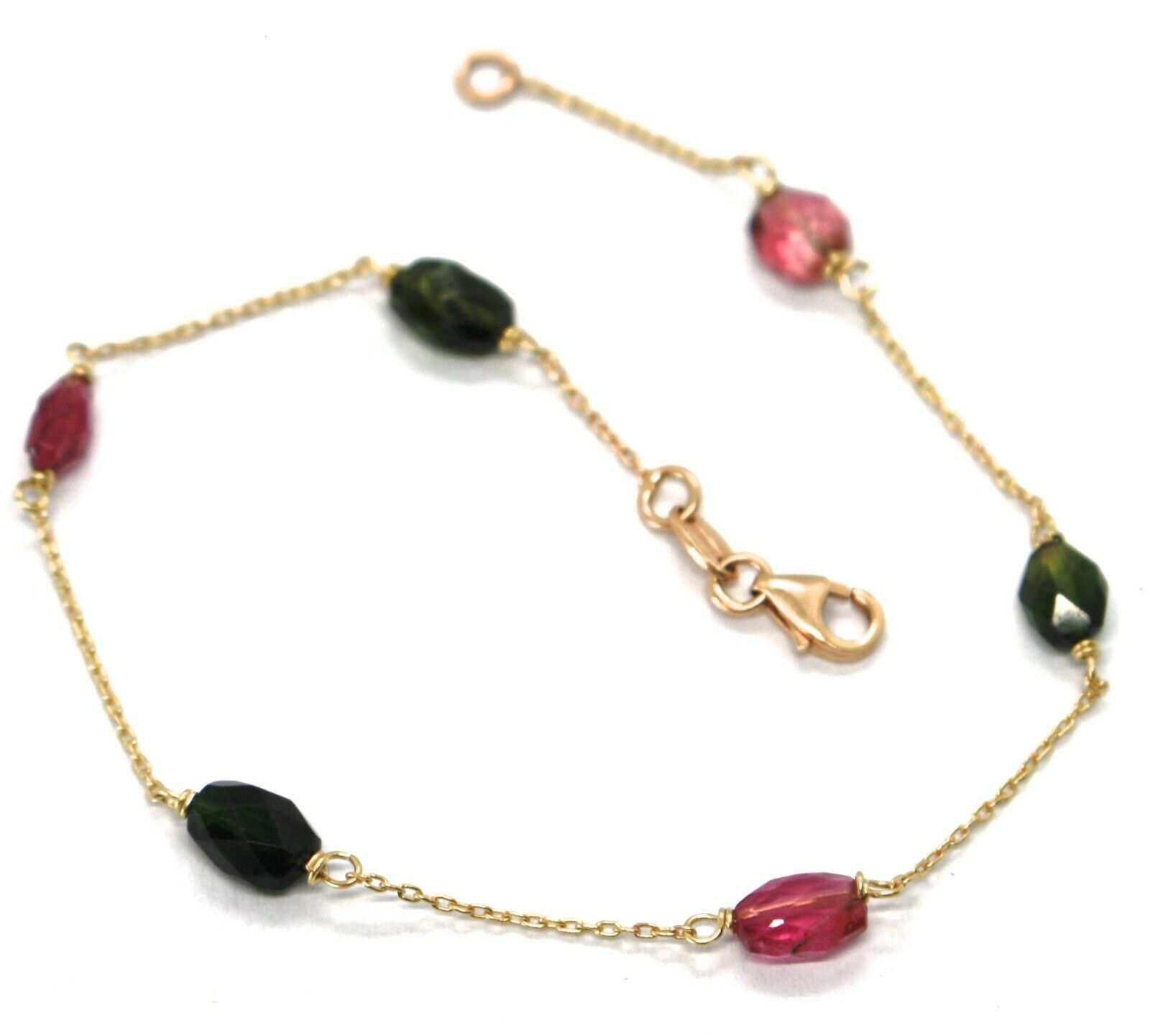 18K ROSE & YELLOW GOLD BRACELET, PURPLE & GREEN OVAL FACETED TOURMALINE