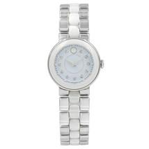 Movado Cerena Teal Diamond Dial Steel White Ceramic Quartz Ladies Watch ... - $704.06