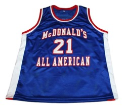 Kevin Garnett #21 McDonalds All American New Men Basketball Jersey Blue Any Size image 3