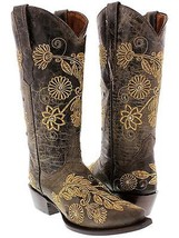 Womens Brown Roma Western Leather Cowboy Boots Emroidered Ladies Cowgirl... - €139,07 EUR