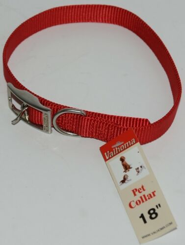 Valhoma 730 18 RD Dog Collar Red Single Layer Nylon 18 inches Package 1