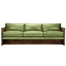84''L Restoration Style  Industrial Genuine Top Grain Green Leather Sofa - $6,484.50