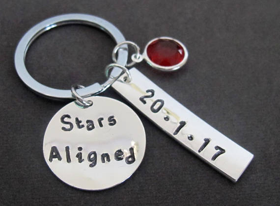 Primary image for Stars Aligned Keychain, Astrology KeyChain,Date of Birth Keyring,Stars aligned