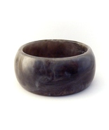 Bangle Bracelet Lucite Wide Chunky Marbled Black White and Gray - $9.99