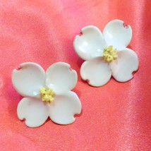 Vintage Porcelain China Dogwood Flower Hand Painted Clip Earrings  - $12.00